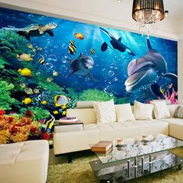 Murales del océano online-Murales grandes personalizados, Space se extiende 3 d mundo submarino de fondo de pantalla encantador 3D ocean world delfines TV fondo decoración de la pared
