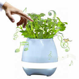 Wholesale Portable Media Speakers - Smart Music Plant Lamp Flowerpot Playing Piano on Real Plant LED Night Light Bluetooth Wireless Portable Speaker (Blue)