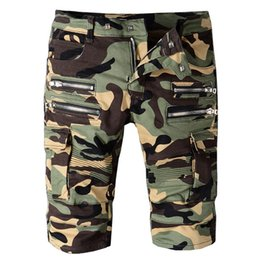 Wholesale Men Camouflage Cargo Shorts - Camouflage Cargo Jeans Shorts Mens Zipper Patches Denim Shorts 2017 Hot Sale Motocycle Short Cowboy Luxury Brand