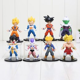Wholesale Goku Set - 8pcs set Dragon Ball Z Son Goku Trunks Vegeta Piccolo Super Saiyan PVC Figures Collectible Model Toys 10cm