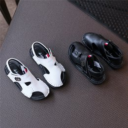 Wholesale Leather Cowhide Strap Wholesale - Boys genuine leather toe-protection sandals big kids fashion simply cowhide sandals children summer casual outdoor shoes 2colors for 3-10T