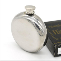 Wholesale Hip Flask Silver - 5oz Mini Round Stainless Steel Hip Flask alcohol flask pocket flask wine flask party supplies flask