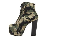 Wholesale Wide Calf Women Boots - Coach camouflage cloth boots, crossing belt for women's shoes, waterproof high with thick with female short boots