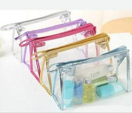 Wholesale Transparent Envelope Bags - Transparent Waterproof PVC Cosmetic Bag Envelope Receive Toiletry Bags Makeup Bag Organizer 5 Colors