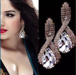 Wholesale Trendy White Weddings - Fashion Wedding jewelry Earring For Women Sparkly Crystal Rain Stud Earring Ladies Swing Earrings Bridal Accessories Prom Party Earrings