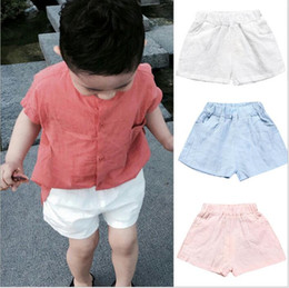 Wholesale Hot Cotton Linen Pants - Kids Clothing Baby Cotton Linen Shorts Infant Summer Hot Pants Kids Solid Fashion Pants Girls Casual Cropped Trousers Baby Kid Clothes B2384
