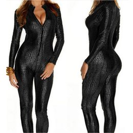 Wholesale Front Zip Catsuit - Wholesale- European Sexy Faux Leather Snake Skin Jumpsuit Front Zip Long Sleeve 3 Color Bodysuit Spandex Catsuit Women M7241