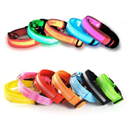 Wholesale Hot Dog Necklace - Hot sale LED Light Flashing dog pet collar Outdoor Luminous Night Safety Nylon Colorful necklace Leash Glow in the Dark battery version