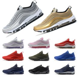 Wholesale Bullets Light - Mens women Athletic Max 97 QS Silver Bullet Running Shoes Fashion Maxes Black Gold Run Trainer Sneaker US7-US11