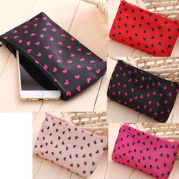 Wholesale Wholesale Pvc Free Makeup Bags - Women Makeup Bags Satin waterproof Love Small Cosmetic Bag Beautician Female Zipper Cosmetics Bag free shipping