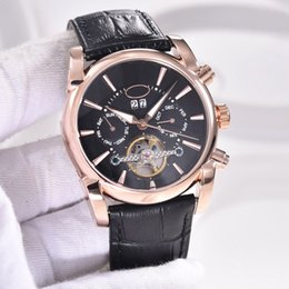 Wholesale 5 Styles MM Tonda Tourbillon Automatic Mens Watch Watches With Week Month Date Show Rose Gold Case Transparent Glass Back