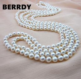 Wholesale Cultured Pearls Sales - REAL PEARL 9mm Pearl Size 100% Genuine Real Freshwater Cultured Long Pearl Necklace Fashion for Nice Lady Female Gift Hot Sale