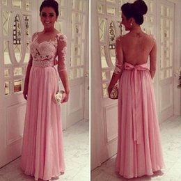 Wholesale Sleeved Chiffon Prom Dresses - Pink Sleeved Evening Dresses Chiffon Appliqued A-line Long Floor Length Prom Gowns With Sash Illusion Backless Dress For Women