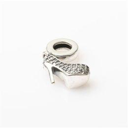 Wholesale Wholesale Fashion Shoes For Women - Shoe Charm Bead Dangle With CZ 100% Authentic 925 Sterling Silver Fashion Women Jewelry European Style For Pandora Bracelet