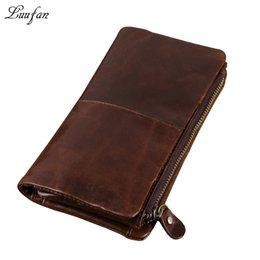 Wholesale Men Genuine Trifold Leather Wallet - Wholesale- Genuine leather Trifold Leather Wallet leather Clutch wallet with phone pocket and removable Zipper Pocket Men crazy long wallet