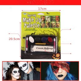 Wholesale Horror Face Makeup - Horror Vampire Tattoo Face Body Paint Oil Painting Art use in Halloween Party Fancy Dress Beauty Makeup Tool CCA7353 20pcs