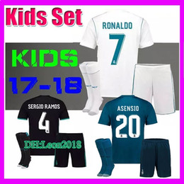 Wholesale Shirt White Children - Kids set 2017 2018 Real Madrid Soccer Jersey 17 18 RONALDO MODRIC BALE ISCO KROOS RAMOS Asensio Football jerseys child youth kit Shirt