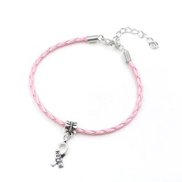 Wholesale Wholesale Gold Hope - Wholesale-50pcs Hope Breast Cancer Awareness Ribbon Charm Pendant Leather Rope Cham Bracelet Fit for European Bracelet Handmade Craft DIY