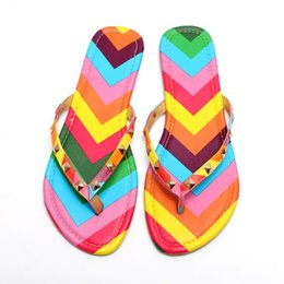 Wholesale rainbow sandals shoes - New 2017 Summer Style Shoes Women Sandals Fashion Rivets Flats Top Quality Rainbow Flip Flops Sexy Slippers Free shipping