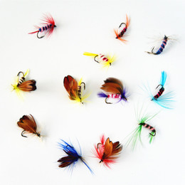 Wholesale Trout Flies Wholesale - q0205 Anmuka 12pcs set Various Dry Fly Fishing Trout Salmon Dry Flies Fish Hook Lures fishing fishing pesca