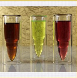 Wholesale Cups Whisky - Bullet Missile double Layer Glass Bullet Cup Clear Beer glass Vodka whisky white wine Bar Wine Glasses KKA1867
