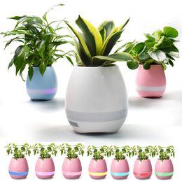 2019 bluetooth lumière intelligente CRESTECH mini Bluetooth Smart Touch Musique Pots De Fleurs Plante Piano Musique Jouant Sans Fil Flowerpot Coloré Lumière Pots De Fleurs bluetooth lumière intelligente pas cher