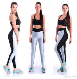 Wholesale Cotton Tights For Women - Women Elastic Cotton Legging for Yoga Fitness Gym High Waist Sports Pants New Athletic Slim Shaper Bottoms Patchwork Tights L109