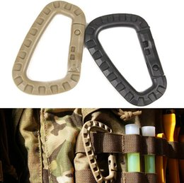 Wholesale D Rings Wholesale - 10pcs EDC Quick Release D Ring Mountaineering Tactical Buckle Backpacker Molle Adapter Grimloc D-Ring Locking Carabiner