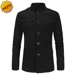 Wholesale mens chinese coat - Wholesale- New 2017 autumn winter Casual City Indoor Mens Collar Chinese tunic suit Straight slim fit Blazers masculino black grey coat