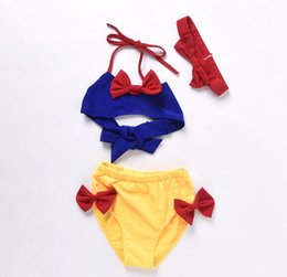 Wholesale 12 Swim - Cute Baby Girls Swimwear New 2017 Snow White Bowknot Swimming Trunks Headband 3pcs Sets Kids Beach Swimsuit C646