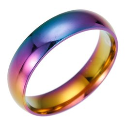 Wholesale Rainbow Cuff - Stainless Steel Colorful Rainbow Ring Simple Band Ring Finger Rings band Cuffs for Women Men Fashion Jewelry 080199