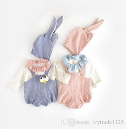 Wholesale Baby Rabbit Rompers - INS new arrivals baby kids climbing romper long sleeve solid color print brace rabbit romper boy girl romper kids rompers 3-24M