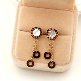 Wholesale Pink Earrings For Girls - Fashion Ear Eardrop Stainless Steel Jewelry 2017 Beautiful Round Design Stud Earrings For Women Girls New Arrival