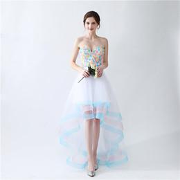 Wholesale Real Low Cheap - High Low Homecoming Dresses Vestidos De Festa Longo Para Formatura 2017 Strapless A Line White Cheap Prom Dresses with Handmade Flowers