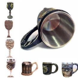 Caffè lupo online-Personaggio 3D Teschio lupo re marchio tazza restaurando i sensi antichi resina tazza di caffè in acciaio inox tazza di acqua IB069