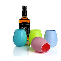 Wholesale Glasses For Cocktails - Silicone Wine Glass Stemless Cup Outdoor Cups Dishwasher Party Cups for Camping Pool Picnic Cup Wine Water Beer 4 Colors