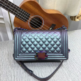 Wholesale rainbow small - Newest Style Fashion casual Classic 25 cm womens gabrielle brand Le Boy Leather Plaid Flaps handbags totes Shoulder Bags Rainbow chain