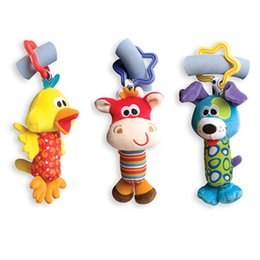 Wholesale Toys Strollers For Kids - Baby Toys Rattle Tinkle Hand Bell Multifunctional Plush Toy Baby Stroller Rattles Toy Duck, Fawn, Dog for Kids