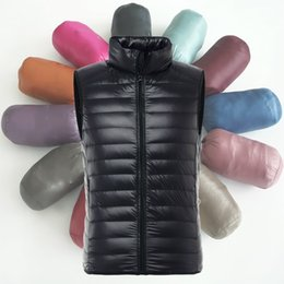 Wholesale Man Weights - Wholesale- Men Light Weight Down Puffer Gilet Vest Body Warmer Waistcoat Padded Slim Fit Winter New Fashion 904-302