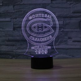 Wholesale Visual Lighting - Wholesale- NHL Montreal Canadiens Ice Hockey League Club Shadow Visual light 3D Colorful Touch Lamp home decor shop crafts