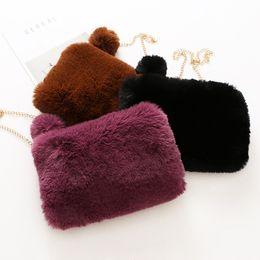 Wholesale Brown Fur Handbag - Fashion new Wholesale Childrens Bags Gold chain fur Handbags Sale Girls Bags Kids Messenger bag baby Shoulder Bag Winter Weekend Bag A1212