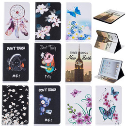 Wholesale Ipad Mini Bear Cases - Tablet case For iPad 2 3 4 5 6 iPad Mini 4 Cover Wallet Stand Leather Case With Card Slots Butterfly Blue Bear