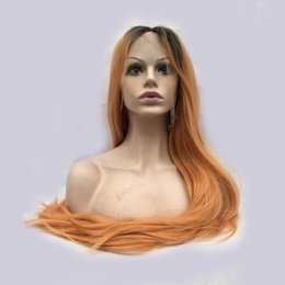 Wholesale Orange Front Lace Synthetic Wig - Best Quality Orange ombre color Cosplay Heat Resistent Synthetic Hair Lace Front Wig - Free Shipping! under $51