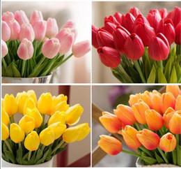 Wholesale Orange Artificial Tulips - 20pcs lot Tulip Artificial Flower PU artificial bouquet Real touch flowers For Home Wedding decorative flowers & wreaths