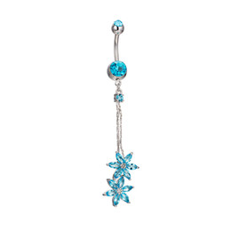 Wholesale Dangle Navel Bars - Flower CZ Piercings Ring Womens Sexy Belly Button Ring Long Dangle Clear Bar Navel Ring White Gold Dangle Body Piercing Button Jewelry