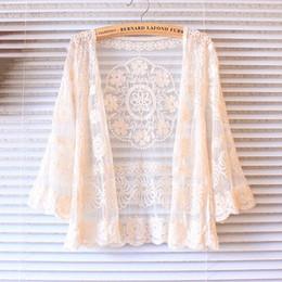 Feminino cardigan algodão flor on-line-Atacado- 2016 verão cardigan mulheres mori menina doce flor bordados de algodão rendas cardigans feminino