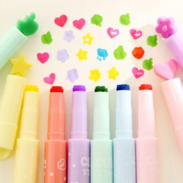 Wholesale cute highlighters - Wholesale- 6 pcs lot new Pattern seal cartoon cute creative highlighter marker pen marker office school supplies gift child free shipping