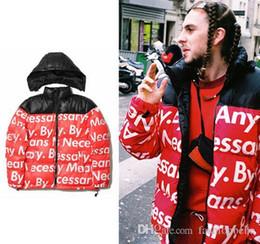 Wholesale Men S Slim Down Jacket - Winter Jackets Men SUP Face Hooded Down Coats Mens Hip Hop Kanye Sup Brand Thick Jacket Men Designer Outwear Men clothes