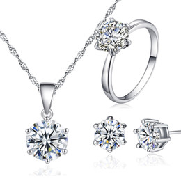 Mode Kristall Hochzeit Schmuck set 925 Silber Überzug Halskette Ohrringe Ring Prom sets für Braut Brautjungfern Frauen von Fabrikanten