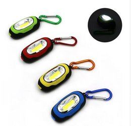 Wholesale Keychain Flashlight Red Light - Creative COB LED Flashlight Light 3-Mode Mini Lamp Key Chain Ring Keychain PVC Lamp Torch Keyring Green Red Yellow Blue